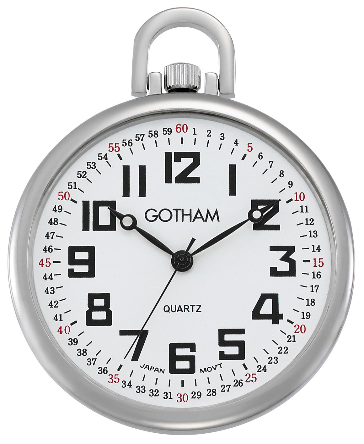 Gotham Men's Silver-Tone Ultra Thin Railroad Open Face Quartz Pocket Watch # GWC15022S - Gotham Watch