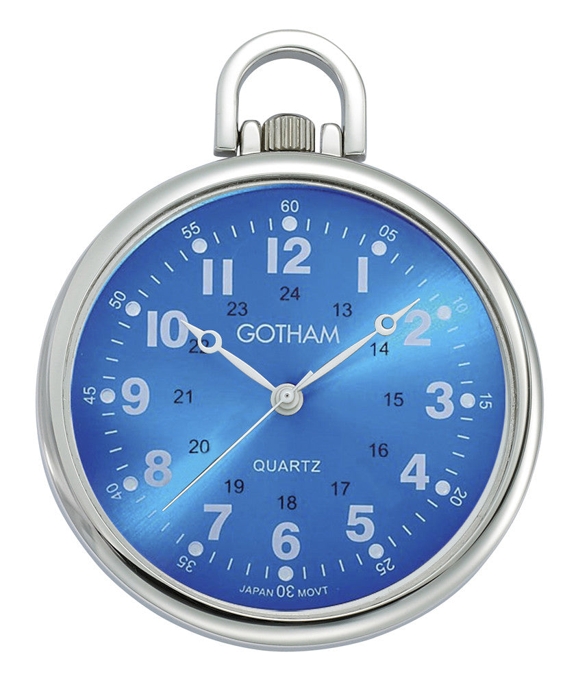 Gotham Men's Silver-Tone Ultra Thin Railroad Open Face Quartz Pocket Watch # GWC15027SBL - Gotham Watch