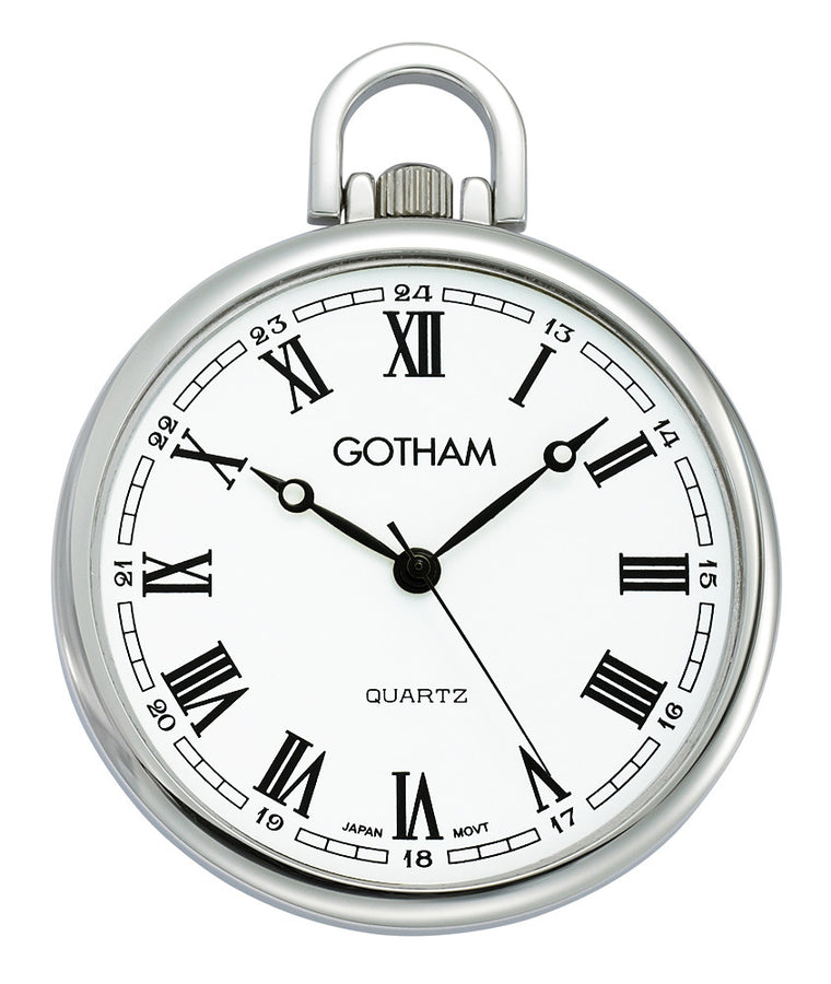 Gotham Men's Silver-Tone Ultra Thin Railroad Open Face Quartz Pocket Watch # GWC15028SR - Gotham Watch