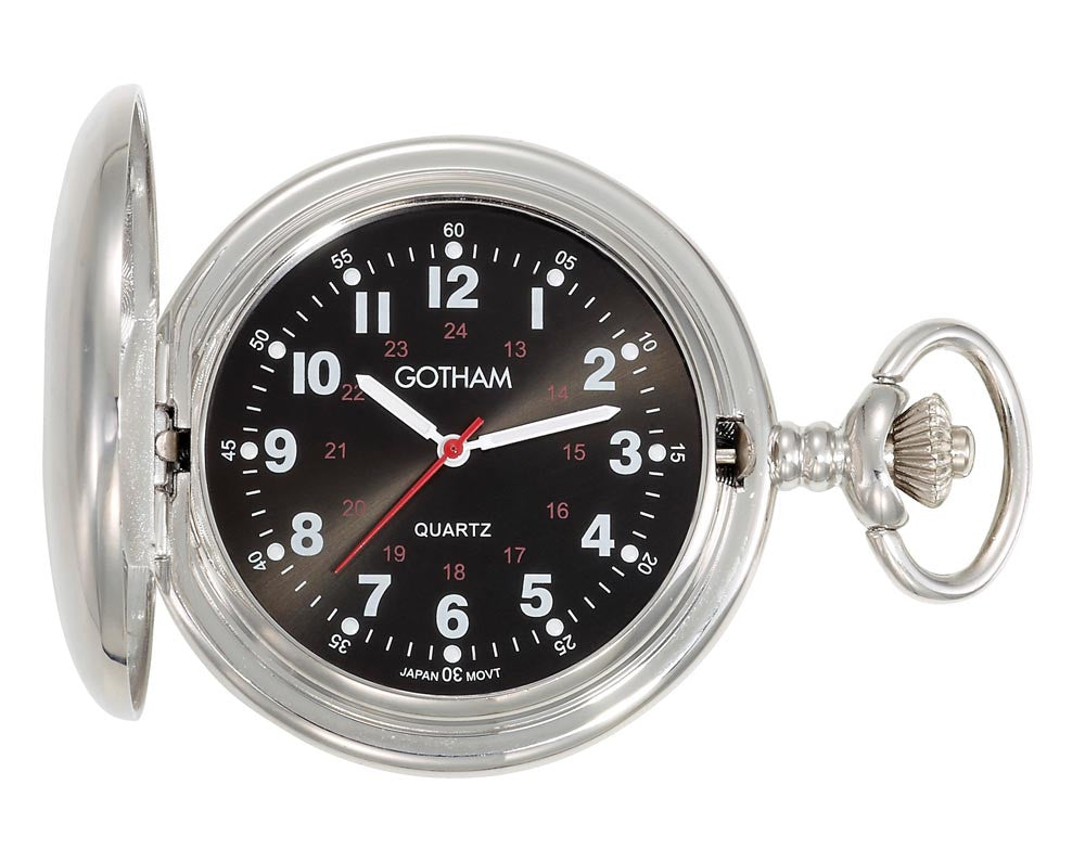 Gotham Men's Silver-Tone Black Dial Covered Quartz Pocket Watch # GWC15042SB - Gotham Watch