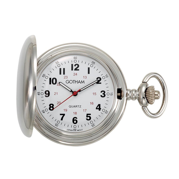 Gotham Men's Silver-Tone Polished Finish Covered Quartz Pocket Watch # GWC15042S - Gotham Watch