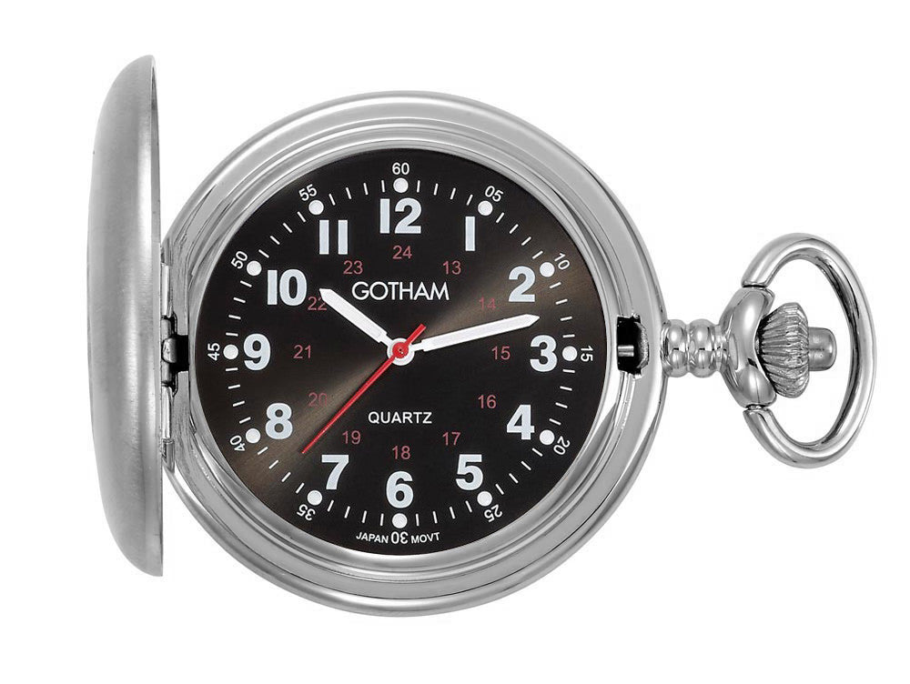 Gotham Men's Silver-Tone Satin Finish Covered Quartz Pocket Watch # GWC15043SB - Gotham Watch