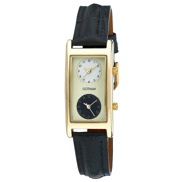 Gotham Men's Gold-Tone Dual Time Zone Leather Strap Watch # GWC15077B