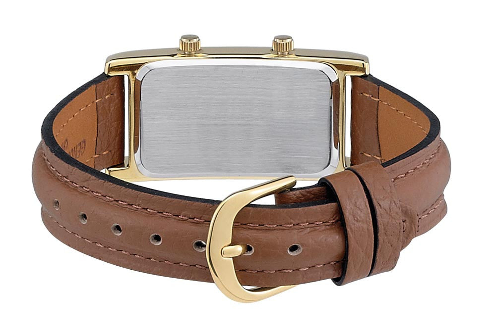 Gotham Men's Gold-Tone Dual Time Zone Leather Strap Watch # GWC15077G