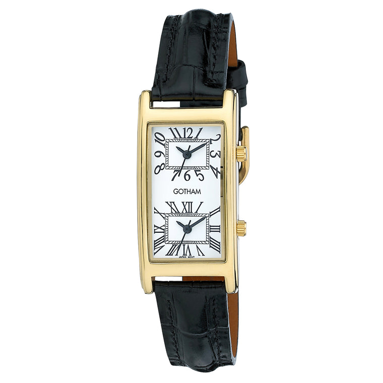Gotham Men's Gold-Tone Dual Time Zone Leather Strap Watch # GWC15090GW - Gotham Watch