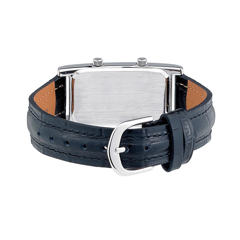 Gotham Men's Silver-Tone Dual Time Zone Leather Strap Watch # GWC15090SW - Gotham Watch