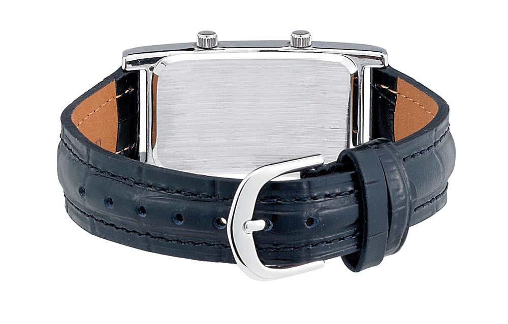 Gotham Men's Silver-Tone Dual Time Zone Leather Strap Watch # GWC15090SB - Gotham Watch