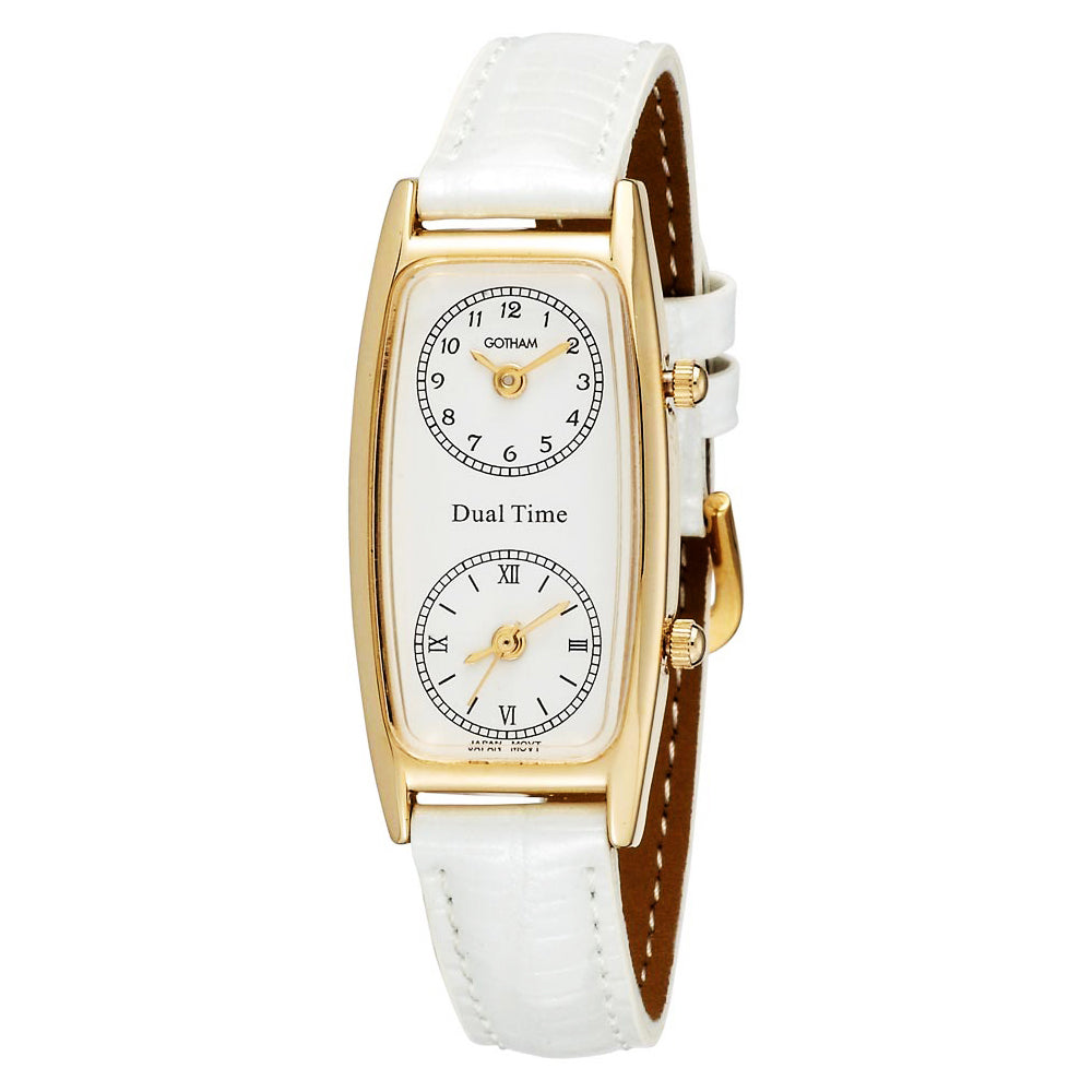 Gotham Women's Gold-Tone Dual Time Zone Leather Strap Watch # GWC15091GW - Gotham Watch