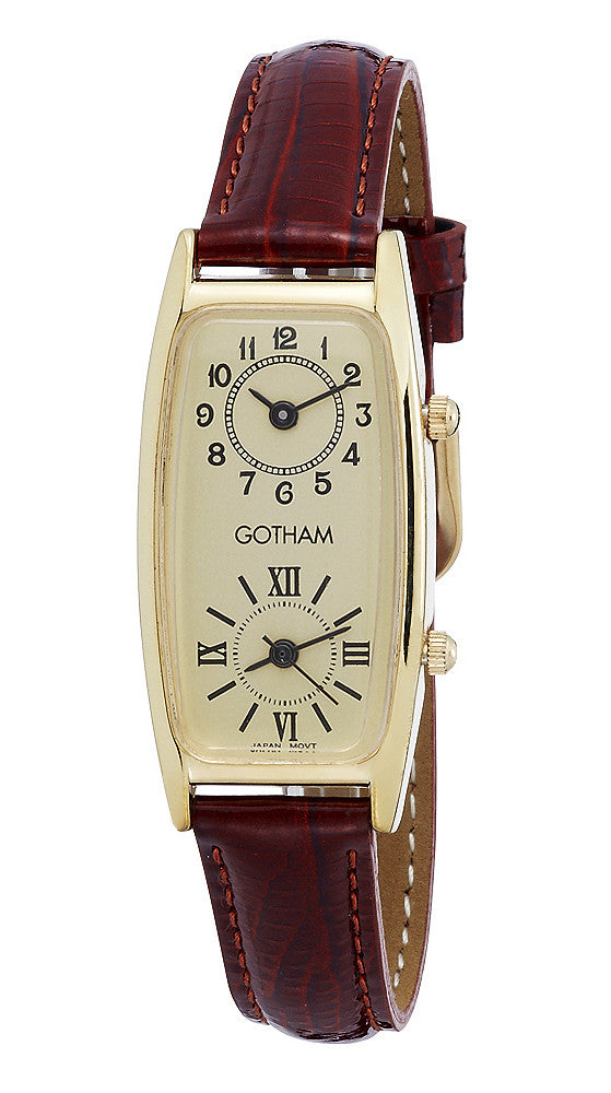 Gotham Women's Gold-Tone Dual Time Zone Leather Strap Watch # GWC15092GB - Gotham Watch