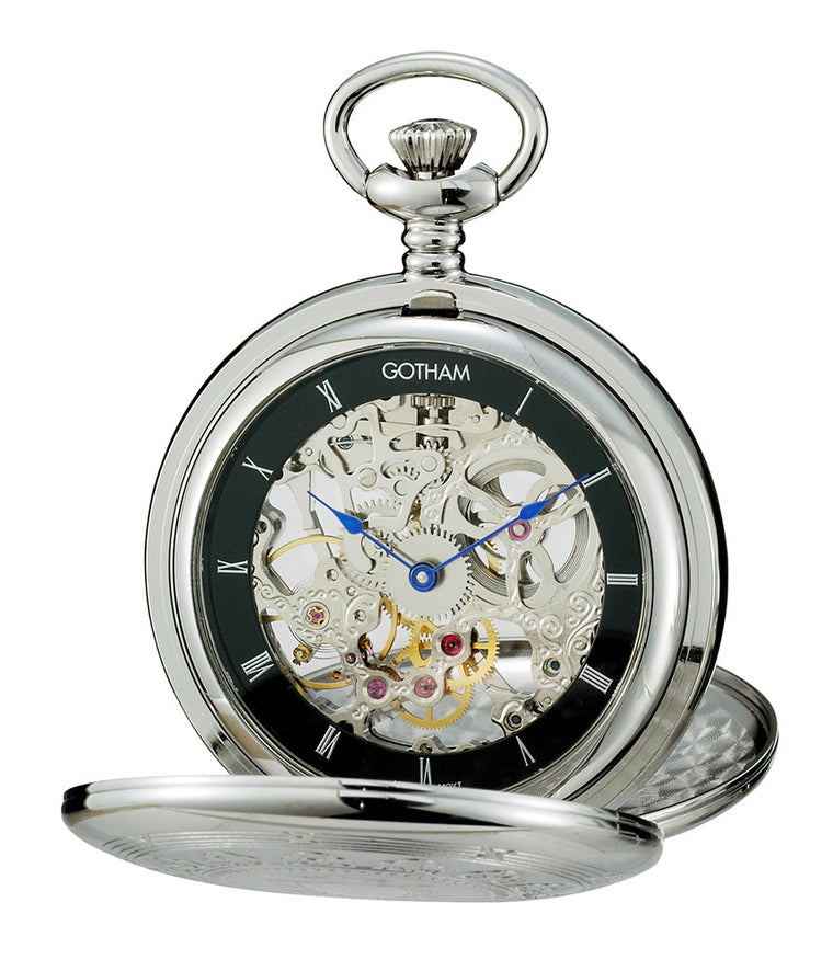 Gotham Men's Silver-Tone Double Cover Exhibition Mechanical Pocket Watch # GWC18800SB - Gotham Watch