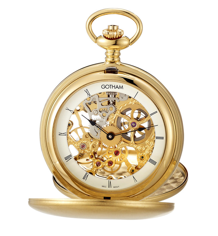 Gotham Men's Gold-Tone Double Cover Exhibition Mechanical Pocket Watch # GWC18801G - Gotham Watch