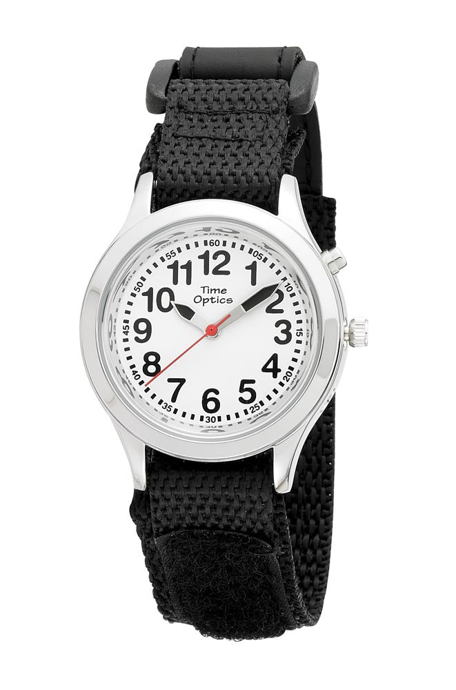 TimeOptics Boy's Talking Silver-Tone Day Date Alarm Fast Wrap Strap Watch # GWC306