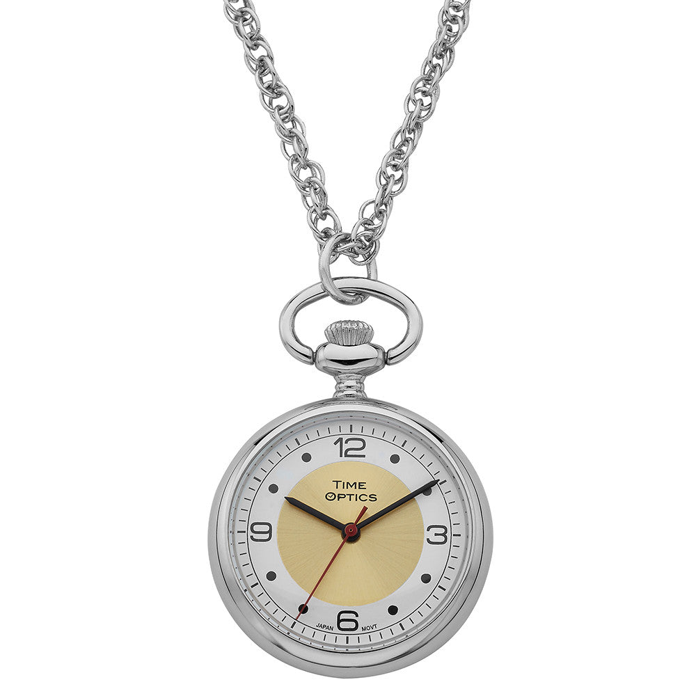 TimeOptics Women's Silver-Tone Quartz Pendant Watch Gold Sunray Dial # GWC1700YG - Gotham Watch