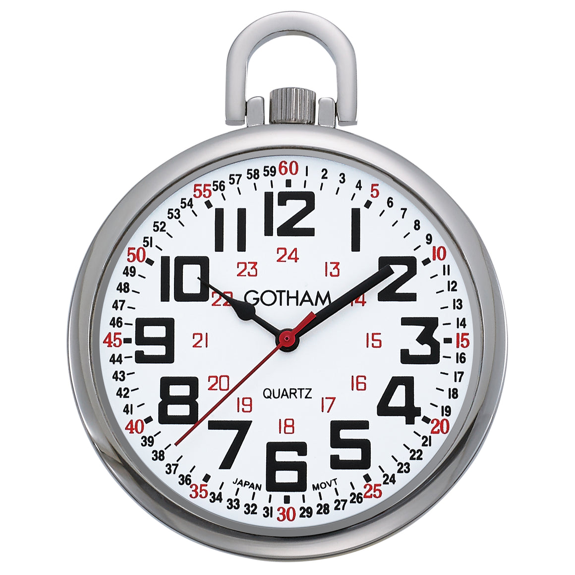 Gotham Men's Silver-Tone Slim Railroad 24 Hour Open Face Quartz Pocket Watch # GWC15029S - Gotham Watch