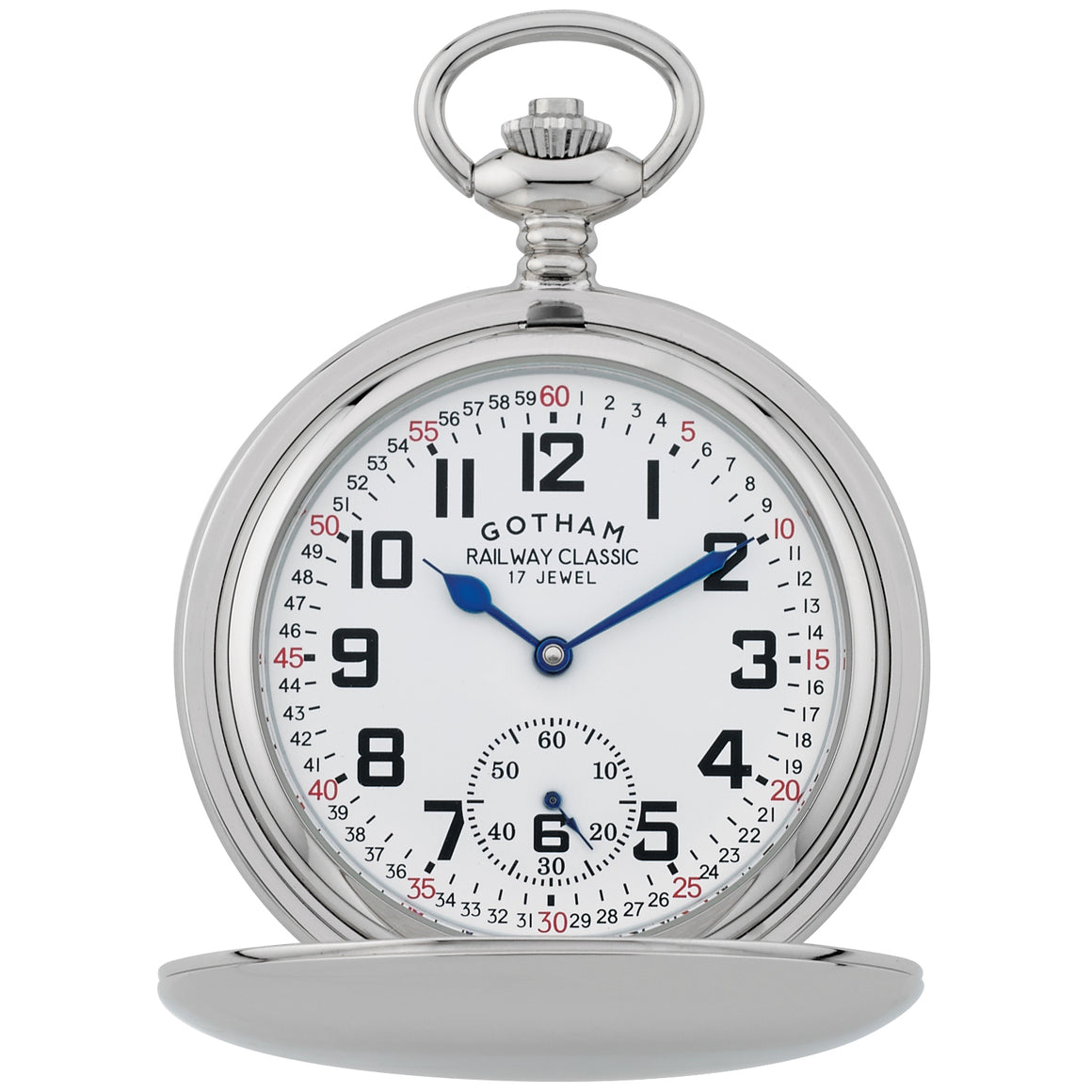 Gotham Men's Silver-Tone Railroad Dial Double Hunter 17 Jewel Mechanical Pocket Watch # GWC18806S - Gotham Watch