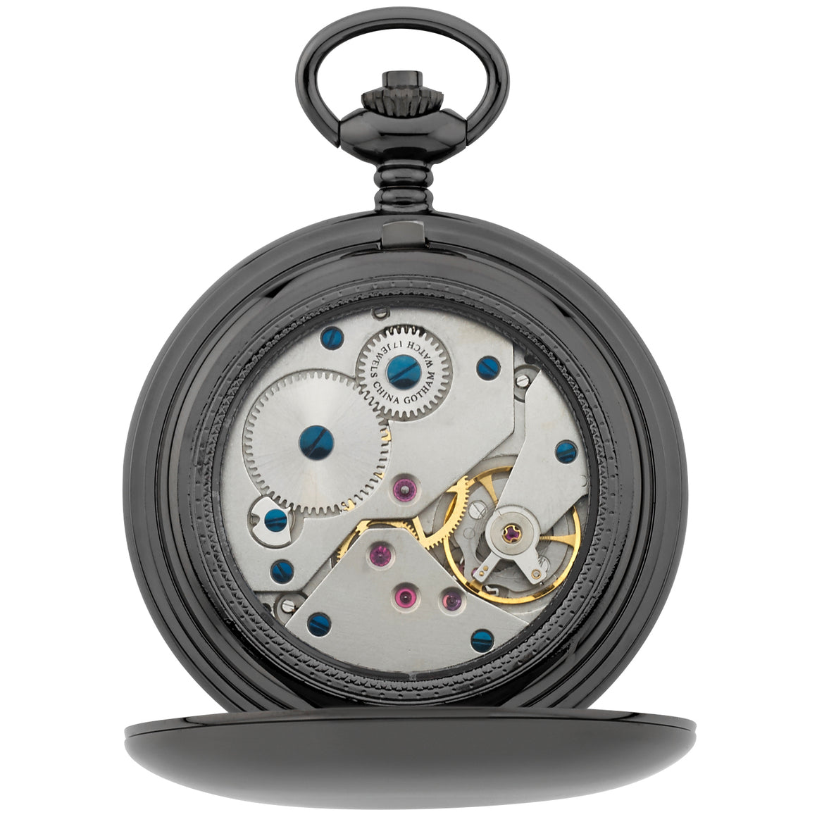 Gotham Men's Gun-Tone Railroad Dial Double Hunter 17 Jewel Mechanical Pocket Watch # GWC18806B - Gotham Watch