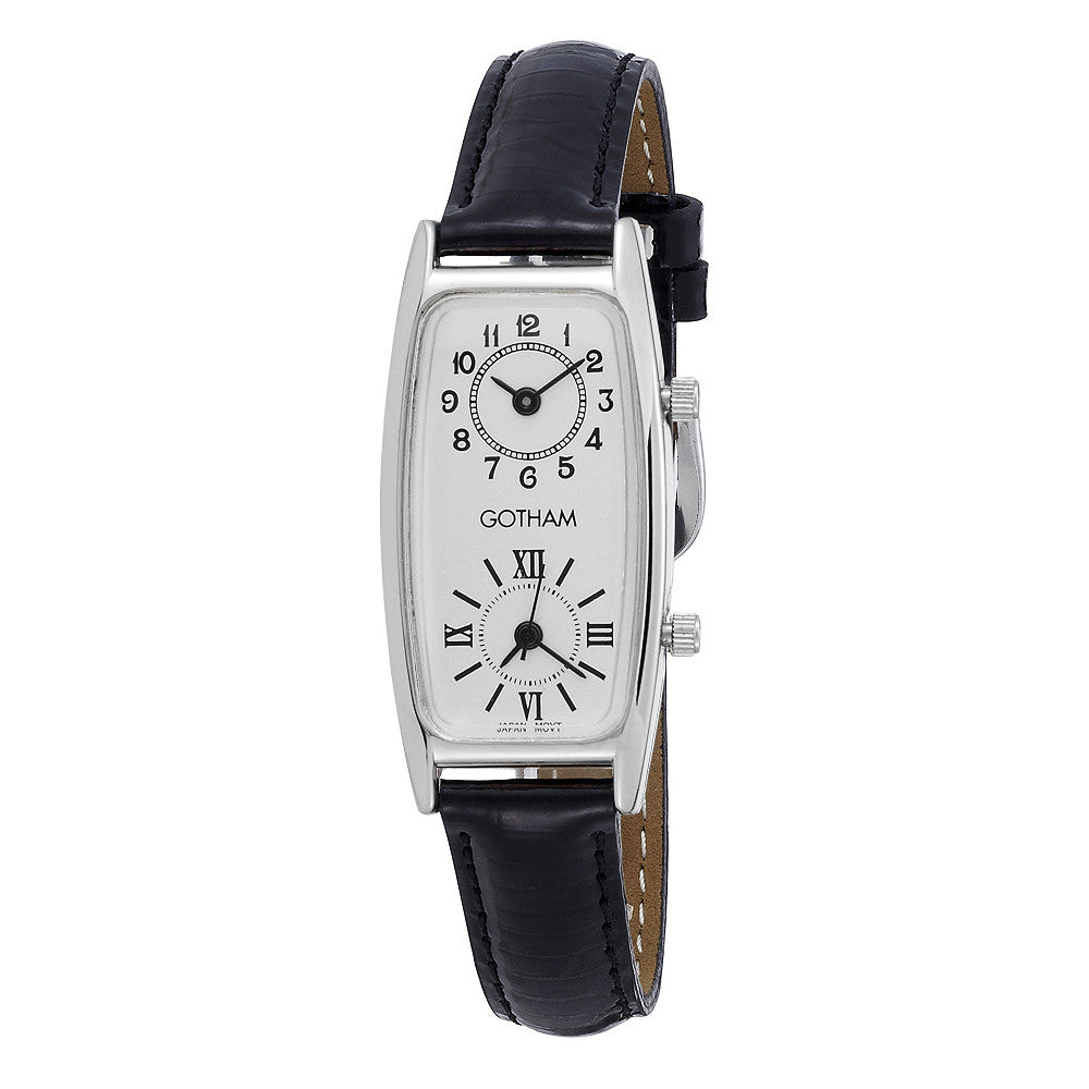 Gotham Women's Silver-Tone Dual Time Zone Leather Strap Watch # GWC15092SB - Gotham Watch