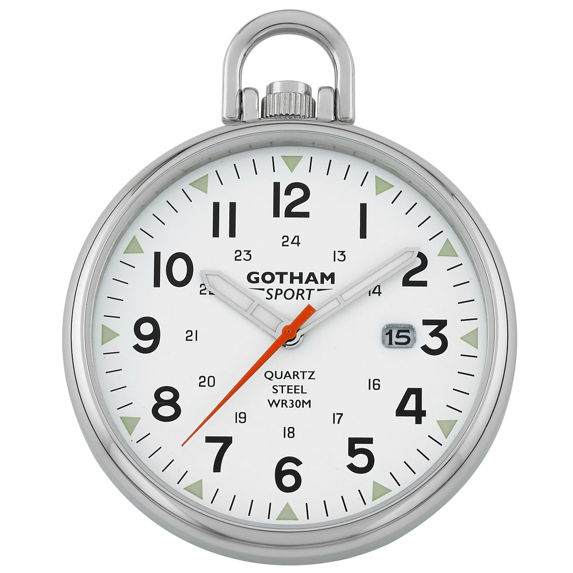 Gotham Men's Sport Series Stainless Steel Analog Quartz Date Pocket Watch # GWC14109S - Gotham Watch