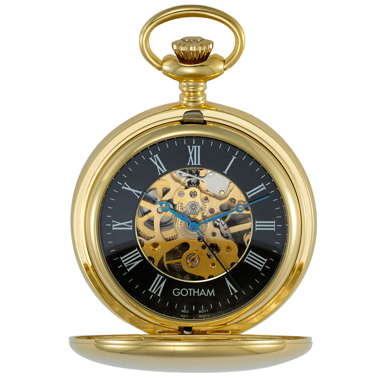 Gotham Men's Gold-Tone 17 Jewel Mechanical Double Hunter Pocket Watch # GWC14050GB - Gotham Watch
