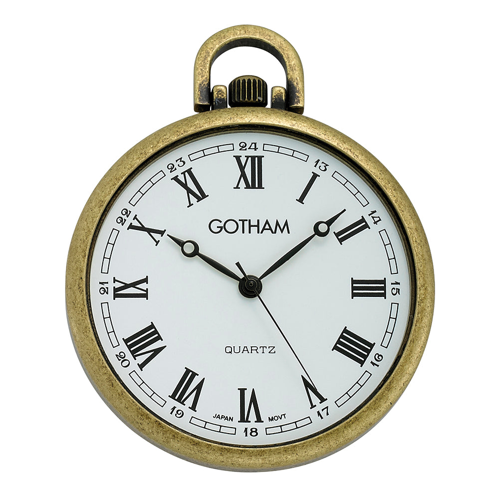 Gotham Men's Antique Gold-Tone Ultra Thin Railroad Open Face Quartz Pocket Watch # GWC15028AR - Gotham Watch