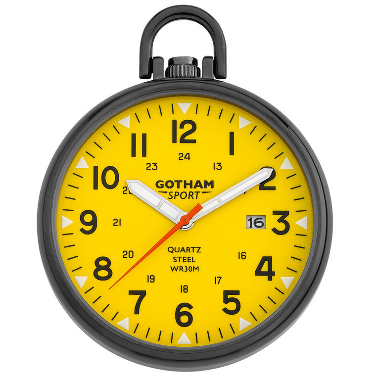 Gotham Men's Sport Series Gunmetal Stainless Steel Analog Quartz Date Pocket Watch # GWC14109BY
