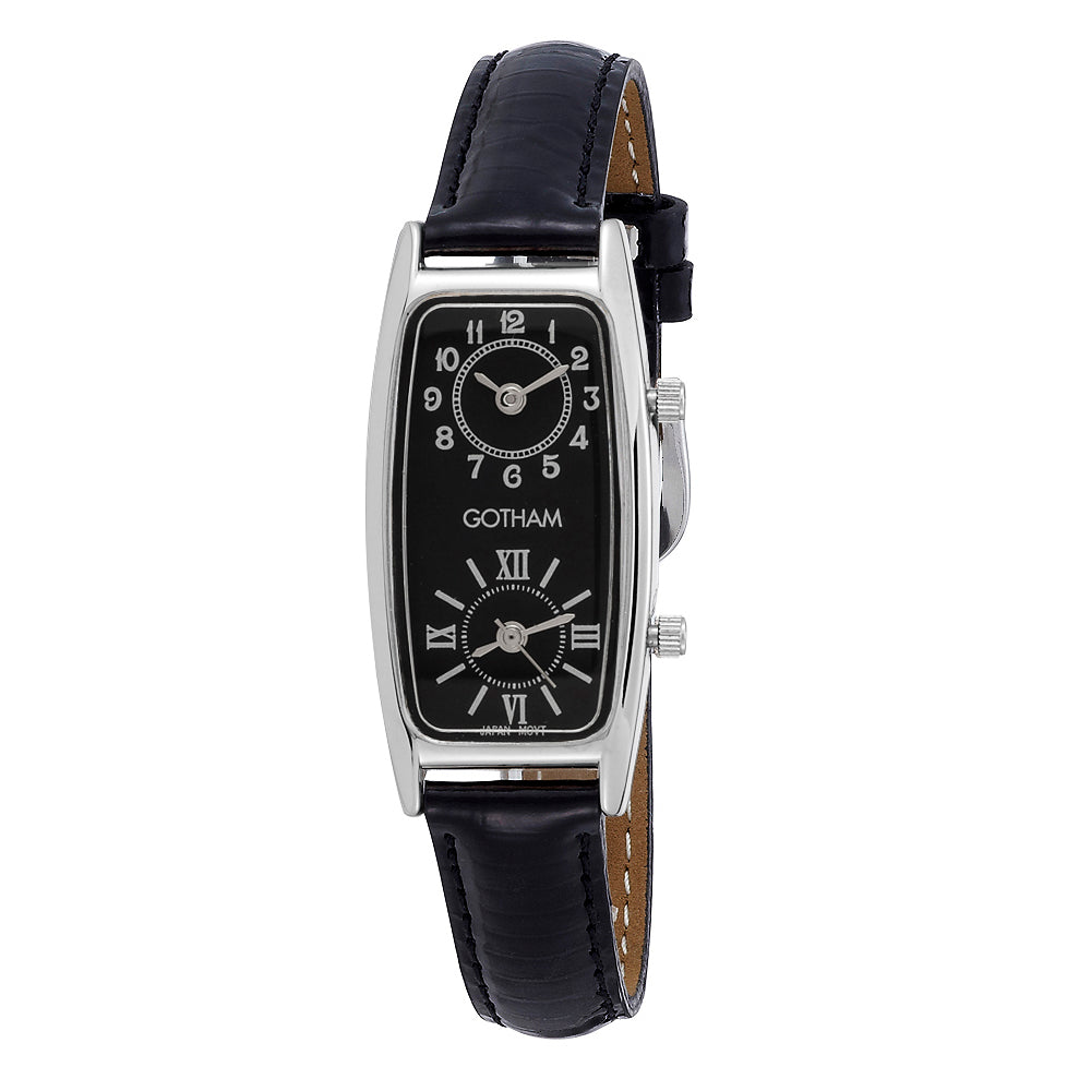 Gotham Women's Silver-Tone Dual Time Zone Leather Strap Watch # GWC15093SB - Gotham Watch