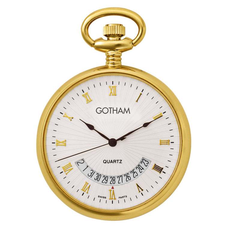 Gotham Mid-Size Gold-Tone Swiss Quartz Date Movement Pocket Watch # GWC14057G - Gotham Watch
