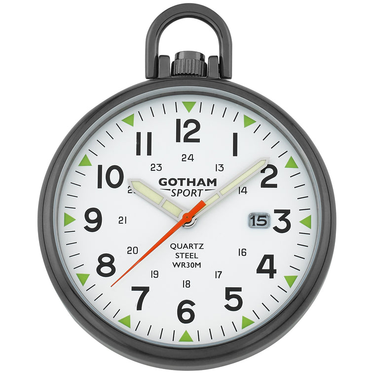 Gotham Men's Sport Series Gun-Plated Stainless Steel Analog Quartz Date Pocket Watch # GWC14109B - Gotham Watch