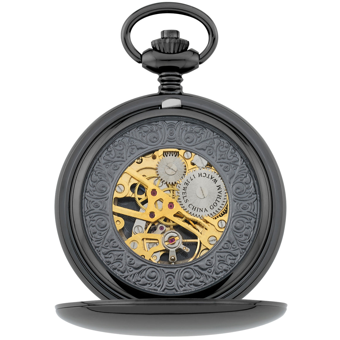 Gotham Men's Gun-Tone 17 Jewel Mechanical Double Hunter Pocket Watch # GWC14050BBK - Gotham Watch