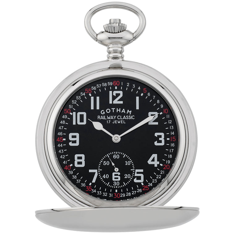 Gotham Men's Silver-Tone Railroad Dial Double Hunter 17 Jewel Mechanical Pocket Watch # GWC18806SB - Gotham Watch