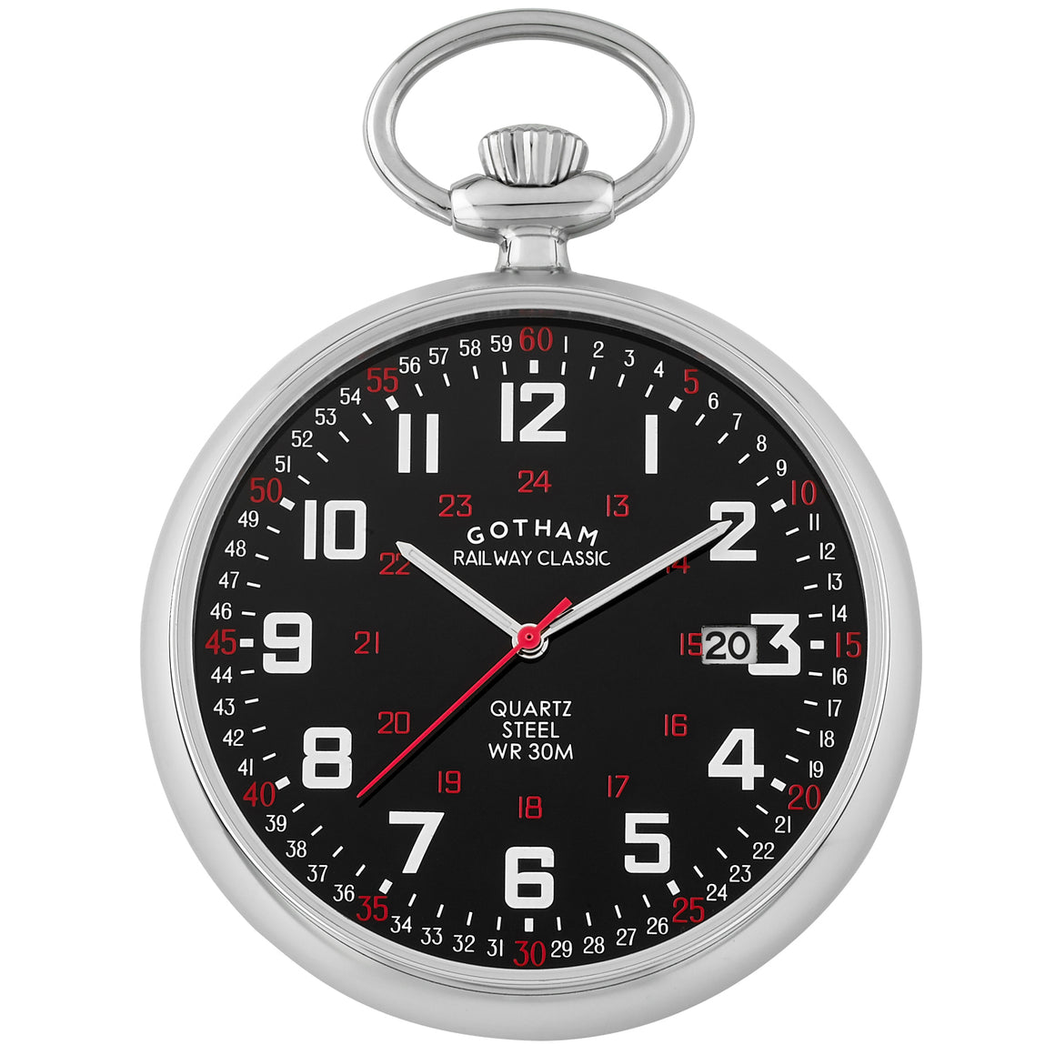 Gotham Men's Stainless Steel 30M WR Analog Quartz Date Railroad Pocket Watch # GWC14105SB - Gotham Watch