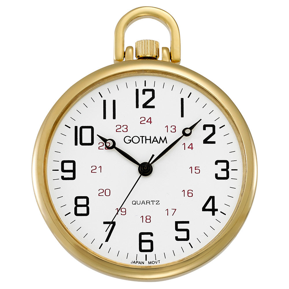 Gotham Men's Gold-Tone Ultra Thin Railroad Open Face Quartz Pocket Watch # GWC15026G - Gotham Watch