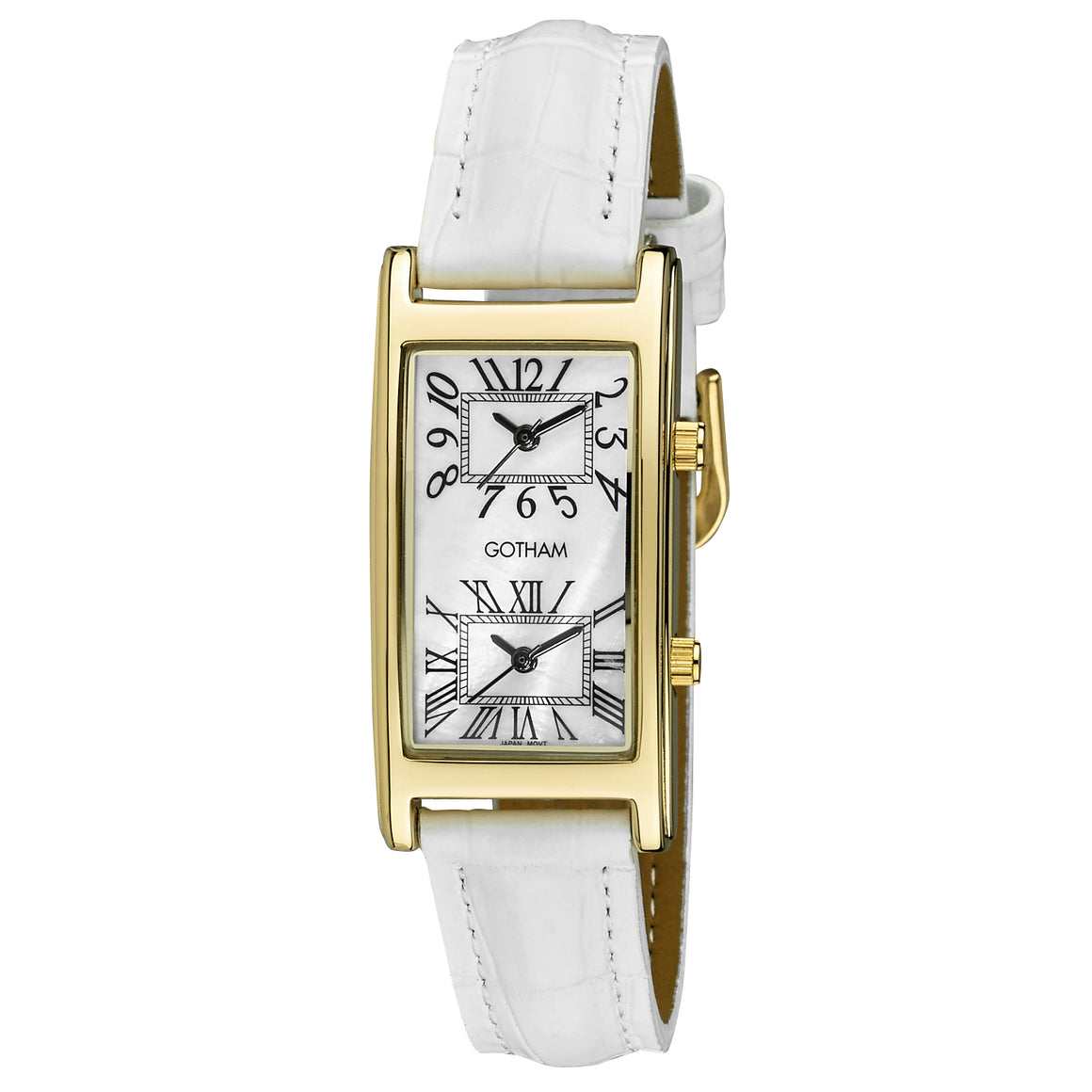 Gotham Woman's Gold-Tone Dual Time White Leather Strap Watch # GWC15090GWH - Gotham Watch
