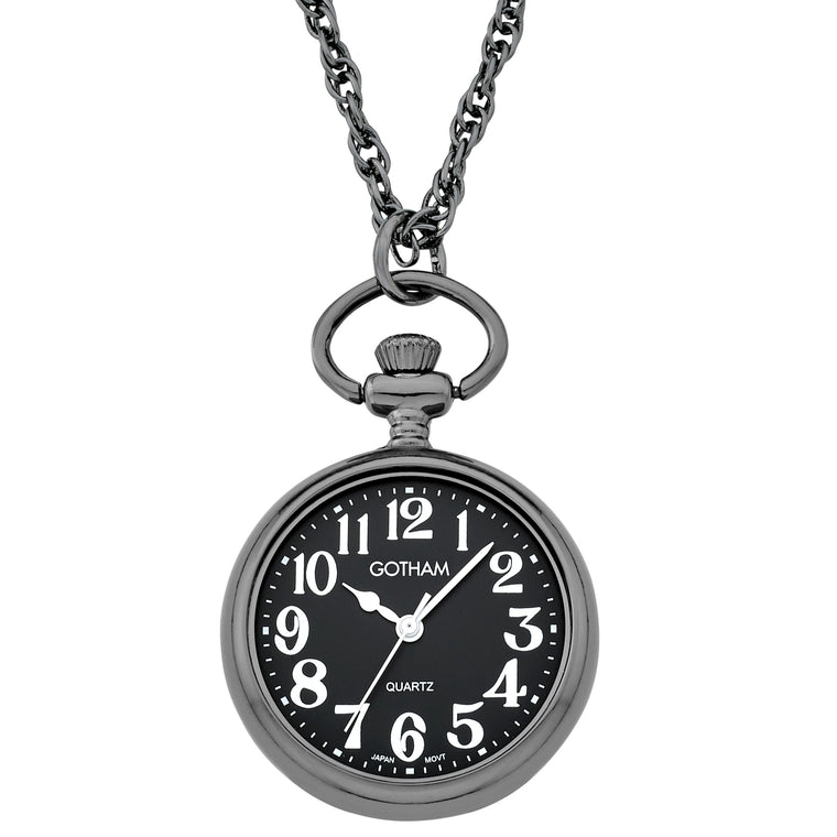 Gotham Women's Gun-Tone Open Face Pendant Watch With Chain # GWC14137BBA - Gotham Watch