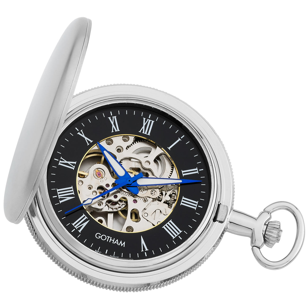 Gotham Men's Silver-Tone Satin Mechanical Skeleton Pocket Watch with Desktop Stand # GWC14060SB-ST