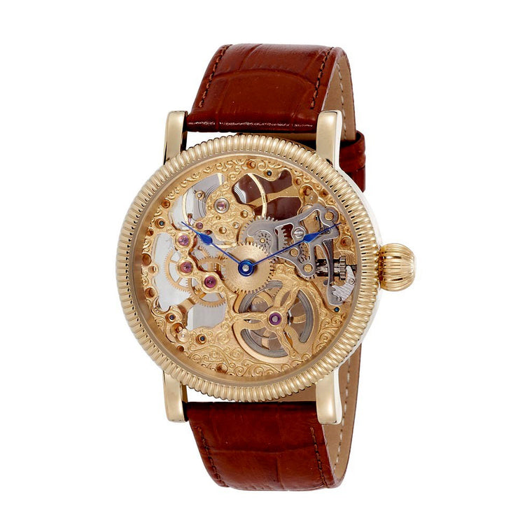 Gotham Men's Gold-Plated Stainless Steel Mechanical Skeleton Leather Strap Watch # GWC14058G