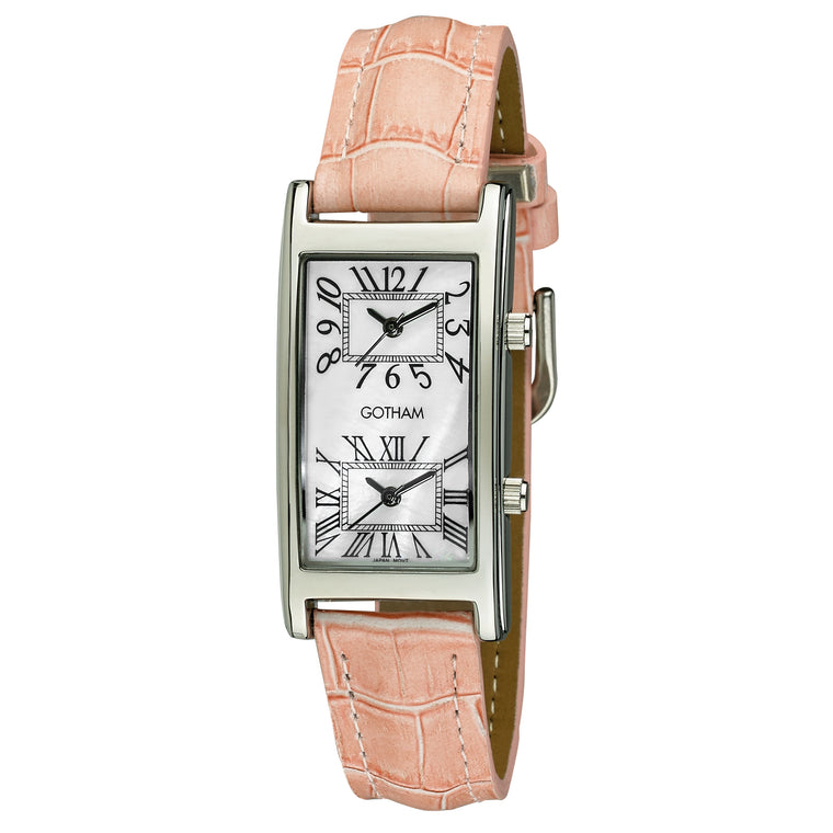 Gotham Woman's Silver-Tone Dual Time Pink Leather Strap Watch # GWC15090SP - Gotham Watch