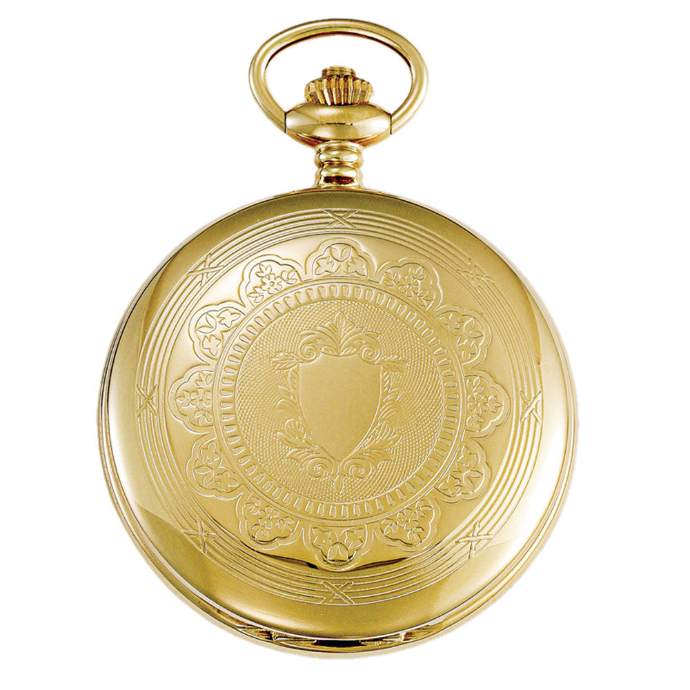 Gotham Men's Gold-Tone Mechanical Dual Time Pocket Watch with Desktop Stand # GWC18803G-ST