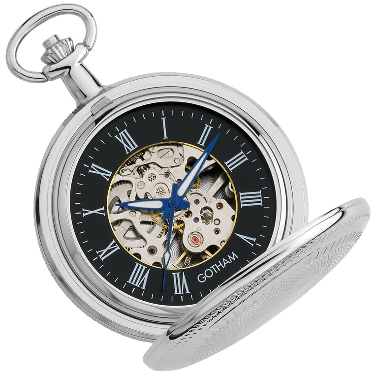 Gotham Men's Silver-Tone 17 Jewel Mechanical Double Cover Pocket Watch # GWC14051SB