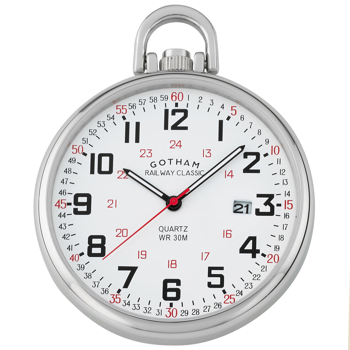 Gotham Men's Stainless Steel Analog Quartz Date Railroad Style Pocket Watch # GWC14107S - Gotham Watch