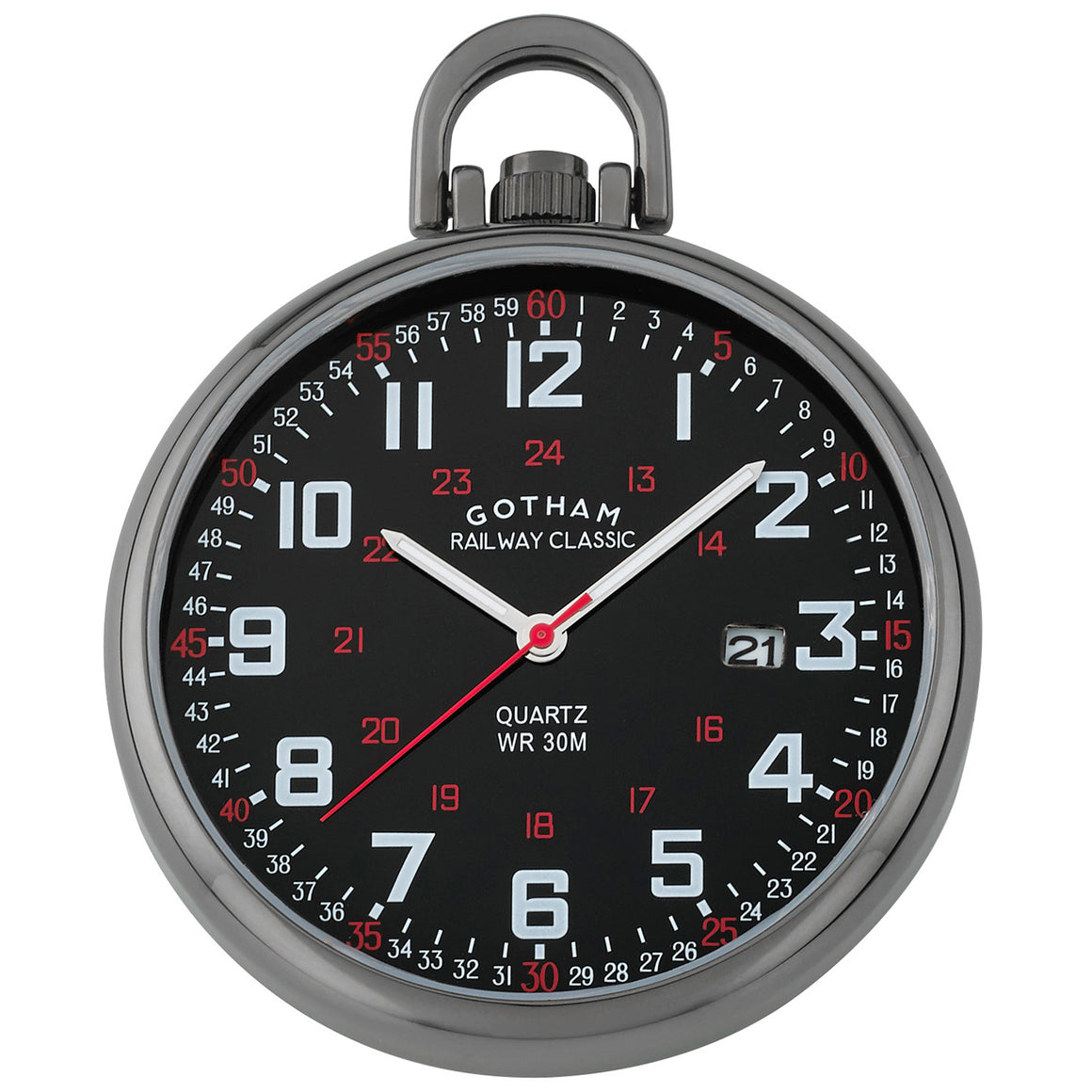 Gotham Men's Gun-Plated Stainless Steel Analog Quartz Date Railroad Style Pocket Watch # GWC14107BBK - Gotham Watch