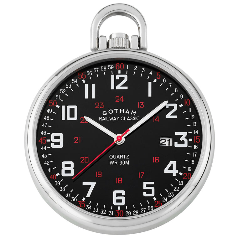 Gotham Men's Stainless Steel Analog Quartz Date Railroad Style Pocket Watch # GWC14107SB - Gotham Watch