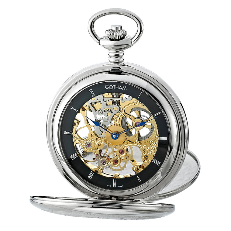 Gotham Men's Silver-Tone Mechanical Pocket Watch with Desktop Stand # GWC18800SBG-ST - Gotham Watch