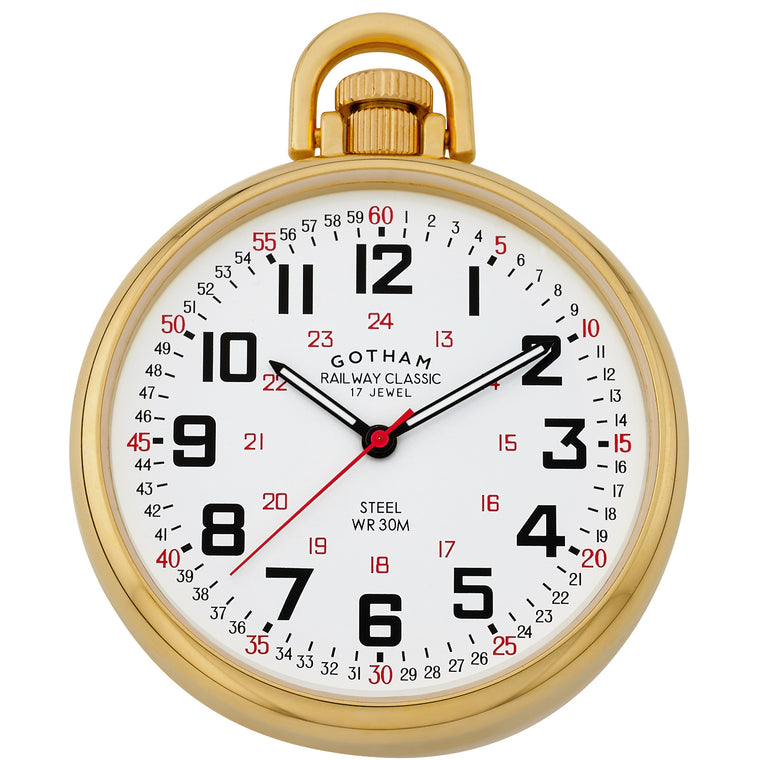 Gotham Men's Gold-Plated Stainless Steel Mechanical Hand Wind Railroad Style Pocket Watch # GWC14106G - Gotham Watch