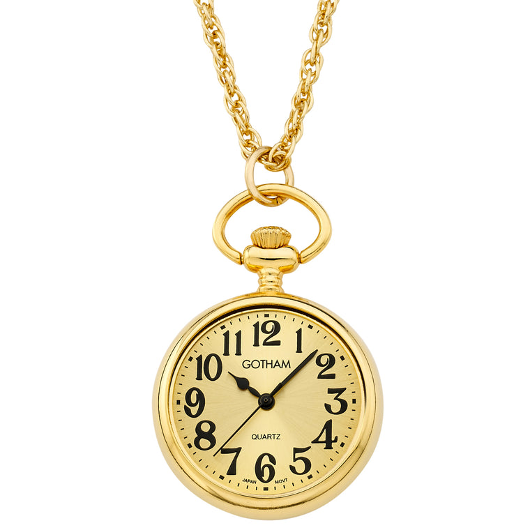 Gotham Women's Gold-Tone Open Face Pendant Watch With Chain # GWC14134GA