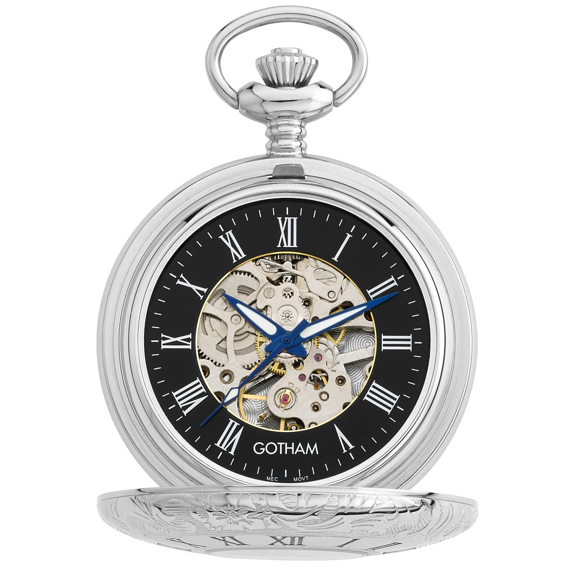 Gotham Men's Silver-Tone Mechanical Pocket Watch with Desktop Stand # GWC14040SB-ST