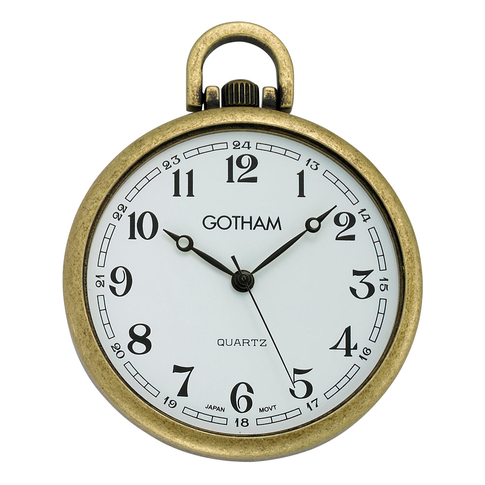 Gotham Men's Antique Gold-Tone Ultra Thin Railroad Open Face Quartz Pocket Watch # GWC15028A - Gotham Watch
