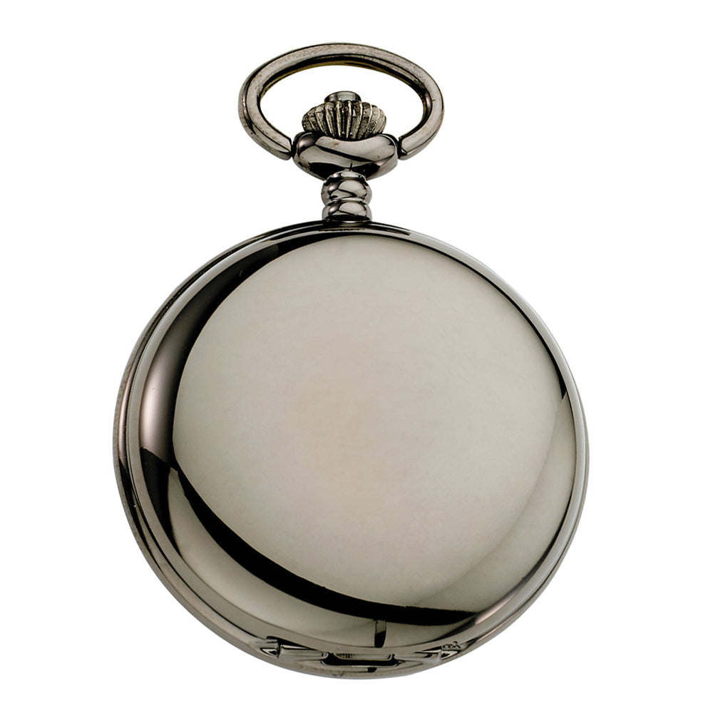 Gotham Men's Gunmetal Railroad Polished Finish Covered Quartz Pocket Watch # GWC15044BG