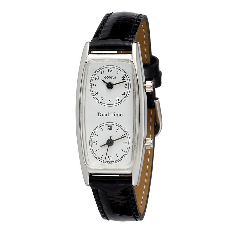 Gotham Women's Silver-Tone Dual Time Zone Leather Strap Watch # GWC15091SB - Gotham Watch