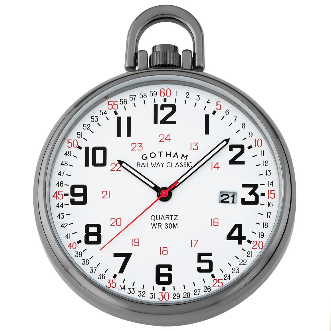 Gotham Men's Gun-Plated Stainless Steel Analog Quartz Date Railroad Style Pocket Watch # GWC14107B - Gotham Watch